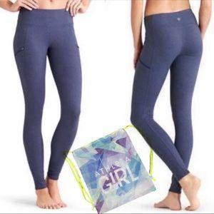 ATHLETA Pixy Drifter Tight leggings Blue +backpack